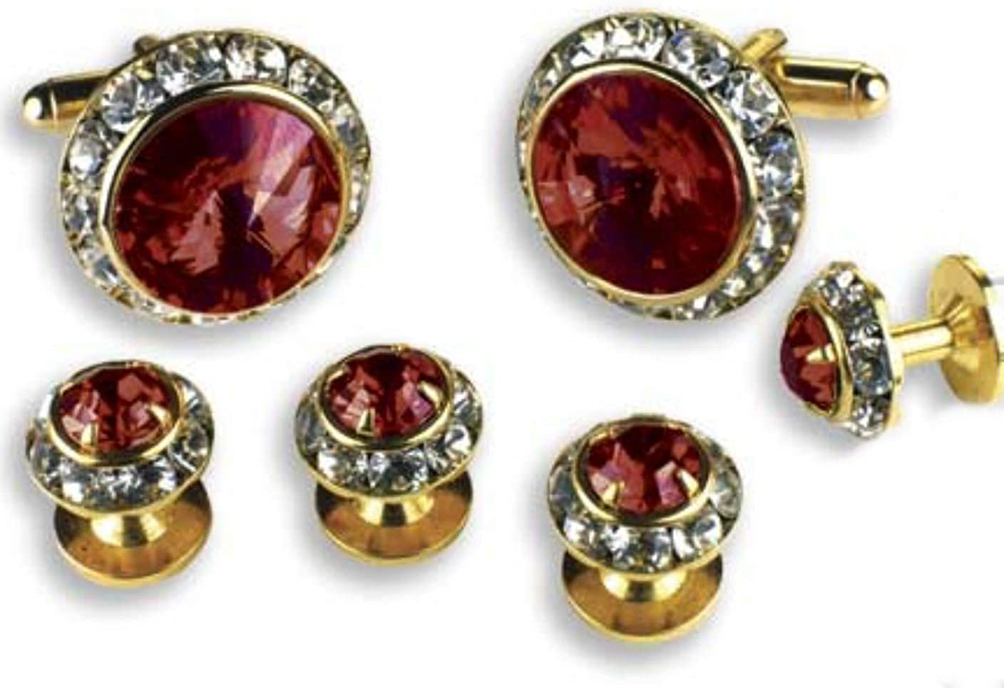 Ruby Red Faceted Stone Center Crystal Boarder Cufflinks and Studs Gold Trim