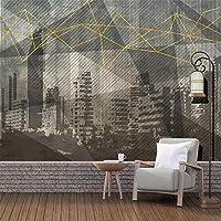 パノラマ3Dパノラマ壁紙壁画風景幾何学的な都市風景オフィスの寝室の背景家の装飾300cmx210cm3D不織布プレミアムアートプリントフリース壁壁画装飾