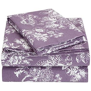 Pinzon 170 Gram Flannel Sheet Set – King, Floral Lavender