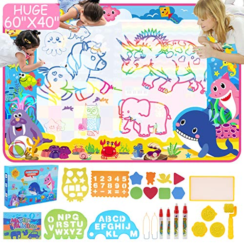 ESDPAL Aqua Magic Mat 60 X 40 inches Extra Large Water Drawing Doodle Mat - Coloring Mat for Kids Toddlers 3 4 5 6 7 8 Year Old