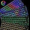 60% Mechanical Gaming Keyboard Mini Portable with Rainbow RGB Backlit Full Anti-Ghosting 61 Key Ergonomic Metal Plate Wired Type-C USB Waterproof for Typist Laptop PC Mac Gamer (Black/Blue Switch) #2