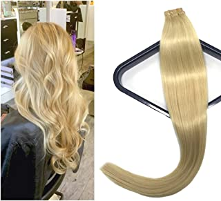 Mario Hair Tape In Human Hair Extensions Silky Straight Skin Weft Human Remy Hair (18 inches, #613)
