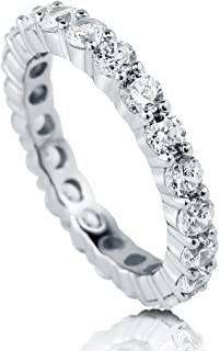 aac908781 BERRICLE Rhodium Plated Sterling Silver Cubic Zirconia CZ Anniversary  Stackable Eternity Band Ring