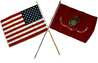 ALBATROS 12 inch x 18 inch USA American with EGA USMC Marine Corps Stick Flag for Home and Parades, Official Party, All Weather Indoors Outdoors
