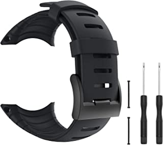 Pwkutn Replacement Sports Watch Band Silicone Bracelet Strap with Metal Clasp for Suunto Core Watch Strap Wristband SS014993000 Black