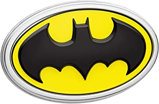 Fan Emblems Batman Logo 3D Car Emblem Black/Yellow/Chrome, DC Comics Automotive Sticker Decal Badge Flexes to Fully Adhere to Cars, Trucks, Motorcycles, Laptops, Windows, Almost Anything