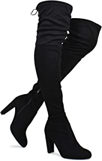 Premier Standard Women's Over The Knee Boot - Sexy Over The Knee Pullon Boot - Trendy Low Block Heel Shoe - Comfortable Boot