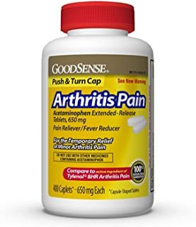 GoodSense Acetaminophen Extended-Release Tablets 650 mg (Arthritis Pain), 400 Count. May provide Temporary Pain Relief from: Minor Pain of Arthritis, the Common Cold,Headache, and Toothache
