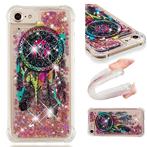 Funluna Funda iPhone 8, Carcasa iPhone 7, Carcasa Glitter Líquido 3D Bling Silicona Flowing Brillar Sparkle Cristal Choque Absorción Cubierta para Apple iPhone 8 / iPhone 7 - Dreamcatcher