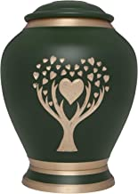 Green Cremation Urn with Tree of Life by Liliane Memorials - Urns for Human Ashes Remains - Brass - Suitable for Funeral Cemetery Burial or Niche - Large Size for Adults up to 200 lbs - Love Tree
