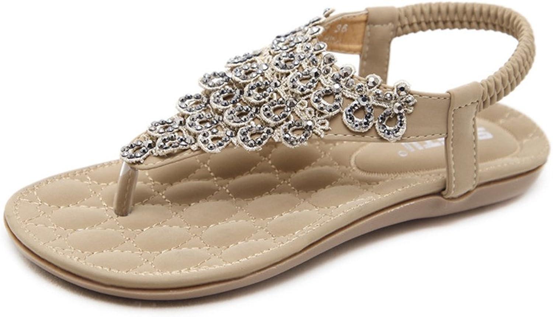 Flip-Flop Flat Sandal for Women,Bohemia Rhinestone Flower Thong Beach Casual shoes