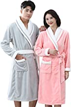 Mens and Ladies Solid Color Shawl Collar Bathrobe Autumn and Winter Soft Warm Home Mid-length Flannel Nightwear(Size:Women...