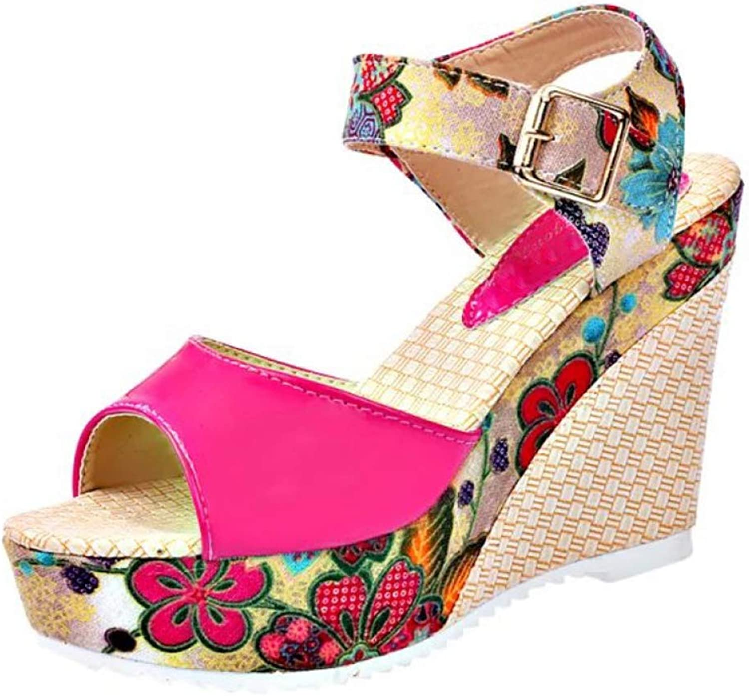 T-JULY Women Platform Wedges Sandals Woman Floral Super High Heels Open Toe Slippers Sandals Summer Casual
