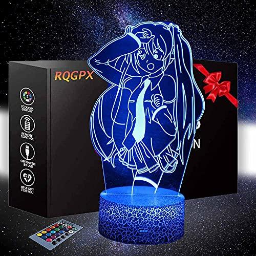 Hatsune Miku Luz de Noche para Niños Juguete para Niñas 16 Colores Cambiante Lámpara de Noche con Remoto, Regalo de Cumpleaños para Bebé, Niños y Adultos
