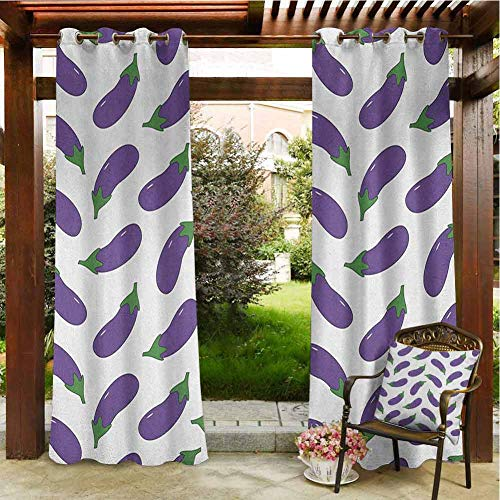 Eggplant Pergola Curtain Yummy and Funny Eggplants Kid Friendly Drawing Nutritious Meals Vegan Natural Outdoor Curtain Wall 108x108 INCH,Violet White