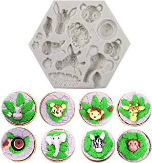Alexless Animals Themed Elephant Lion Giraffe Monkey Animal Forest Silicone Molds Fondant Cake Decorative Tools Candy Chololate Soap Clay Making Molds for Baby Shower Birthday Party, Wedding Party