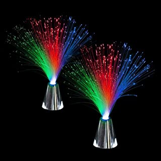 Kicko Fiber Optic Lamp - 14 Inch Multi-Colored Fiber Lights with Silver Cone Base - for Kids' Bedroom, Home Decoration, Pa...