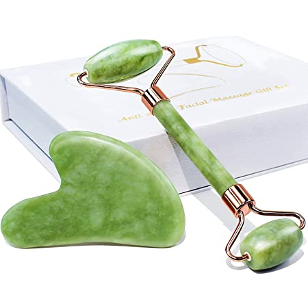 Jade Roller and Gua Sha Set Tool - Face Roller Skin Care - Guasha: 100% Real Natural Jade -Eye Treatment Products, Facial Roller for Skin, Eyes, Neck- Authentic, Durable, Noiseless Design