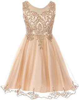 Sleeveless Satin Gold Coiled AB Rhinestones Lace Tulle Girls Dresses