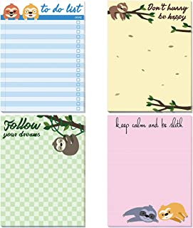 Sloth Memo Pads 4 Pack Funny Notepads for Office Gifts School Supply