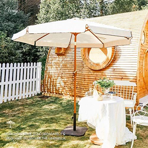 VINEY Deluxe 9 ft. Fringe Patio Umbrella Outdoor Market Table Umbrellas with Aluminum Faux Wood Frame | Fringed Olefin Canopy, Push Button Tilt & Crank (Beige)