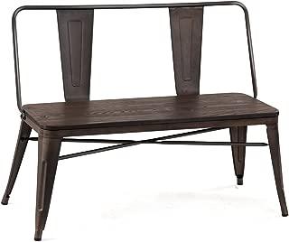 COSTWAY Industrial Dining Bench 2 Person Mid-Century Vintage Wood Seat Metal Backrest and Legs Indoor Outdoor Patio Garden Bench with Floor Protectors