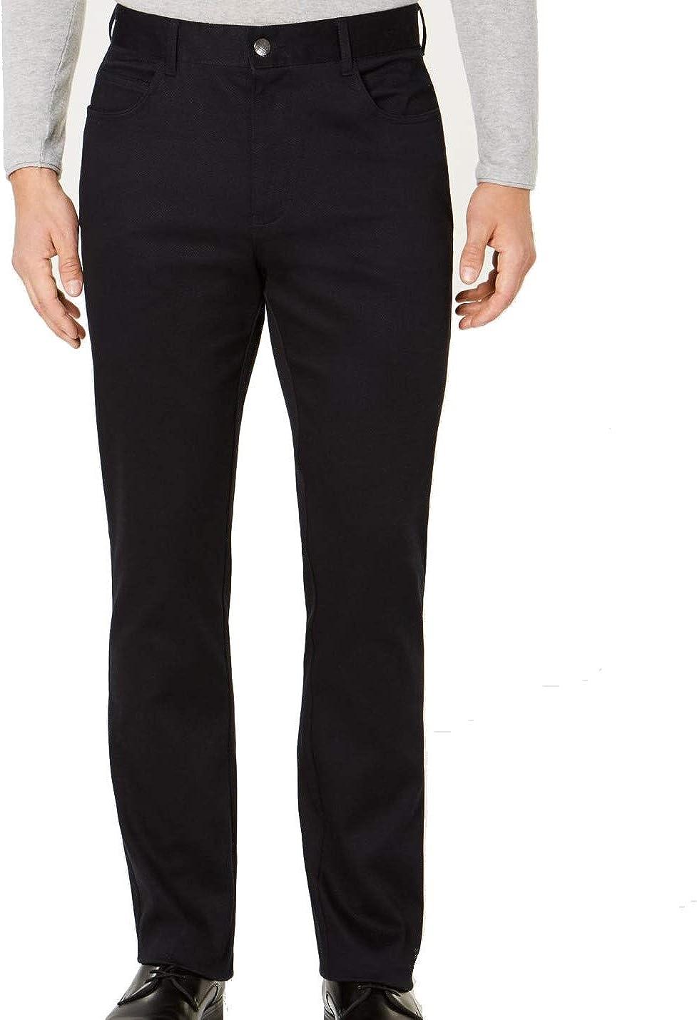 Ryan Seacrest Mens Cross Hatch Casual Chino Pants, Black, 40W x 30L