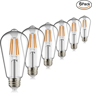 Helloify 60W ST19(ST64) LED Filament Bulbs Edison Vintage Dimmable Energy Efficient Reading Lamp for Pendant Wall Light Fixtures Office Bedroom Bathroom,E26 Base,Warm White 2700K, Pack of 6, Clear