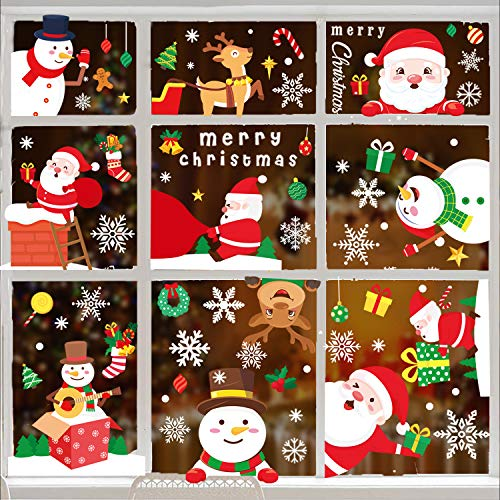 486 PCS Christmas Window Clings Decals Christmas Window Decorations Christmas Window Stickers Snowflake Deer Santa Claus Winter Wonderland Decor for Office School Home Decorations Xmas Gifts 15 Sheets