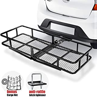 Hitch Mount Cargo Carrier   Cargo Carrier Hitch Mount Basket - 500lbs Folding Cargo Carrier Luggage Basket with Cargo Carrier Net & Hitch Stabilizer - Thick Steel Constructed Fits to 2