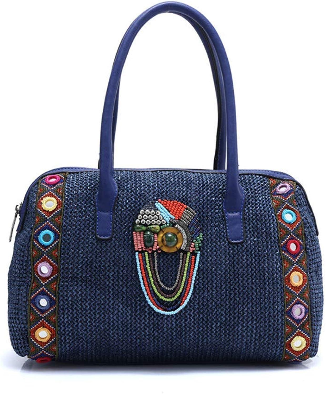 Evening Bag Bag Women Handmade Bohemian Boho Hippie Bucket Handbag Flower Pattern Embroidery Shoulder Cotton Fabric National Ethnic, bluee Party Handbag