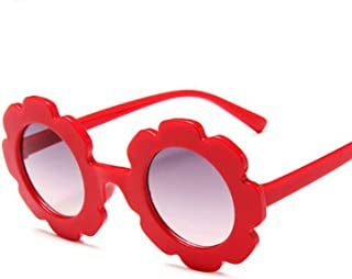 FA.cbj3 - Gafas en forma de flor Rcute Gafas de sol redondas para niña Boy Party Accesorios (rojo)