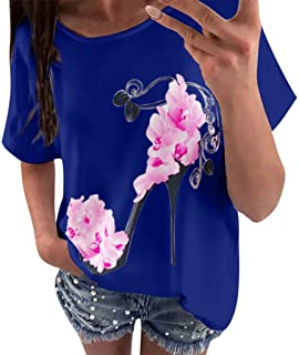 Limsea Clearence Sale! Women's 2019 Fashion Casual High Heels Floral Print Blouse Short Sleeve Loose Top T-Shirt