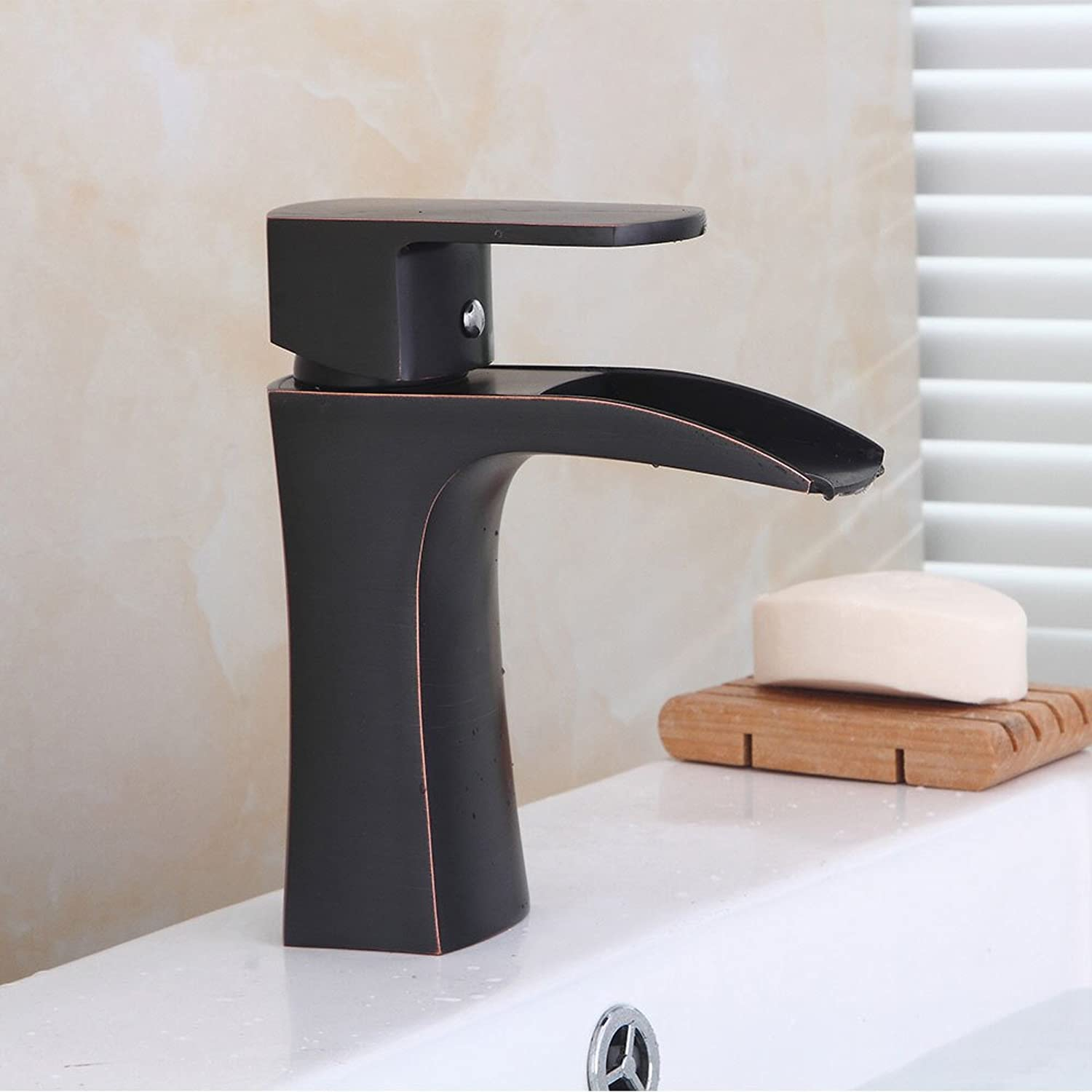 Bathroom Sink Basin Lever Mixer Tap Cold and Hot Water Faucet European Bench Basin Faucet Ancient Basin Faucet Retro Waterfall Cold and Hot Bathroom