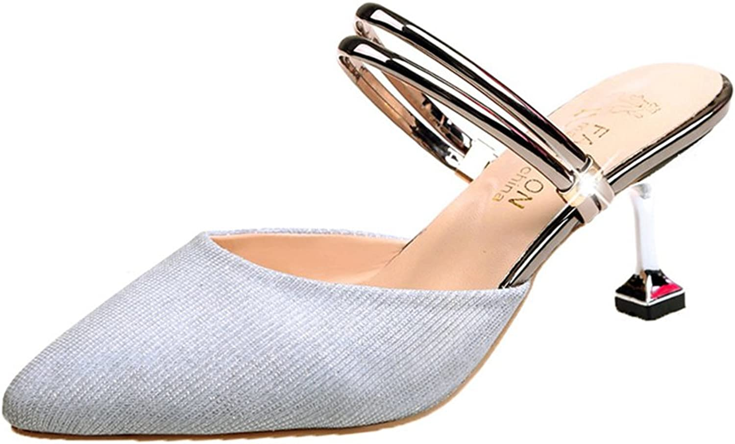 Women's Fashion Pointed Closed Toe Slide Sandals Comfortable & Breathable Heels Dress Sandal