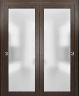 Frames Trims Satin Nickel Hardware French Double Frosted Glass Doors 60 x 96 Bedroom Bathroom Solid Core Wooded Panels with Opaque Inserts Planum 2102 White Silk