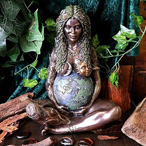 GSJDD Estatua de la Madre Tierra, Millennial Gaia Mother Earth Goddess Art Statue, Figura con Acabado de Bronce de poliresina, para Regalo del día de la Madre y decoración del hogar Chunxiaqiu