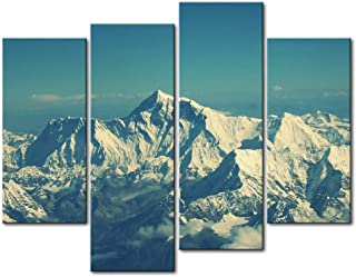 So Crazy Art - Canvas Print Wall Art Painting For Home Decor,Mount Everest Snow Mountain Blue Sky 4 Pieces Panel Paintings Modern Giclee Stretched And Framed Artwork Oil The Picture For Living Room Decoration,Landscape Pictures Photo Prints On Canvas