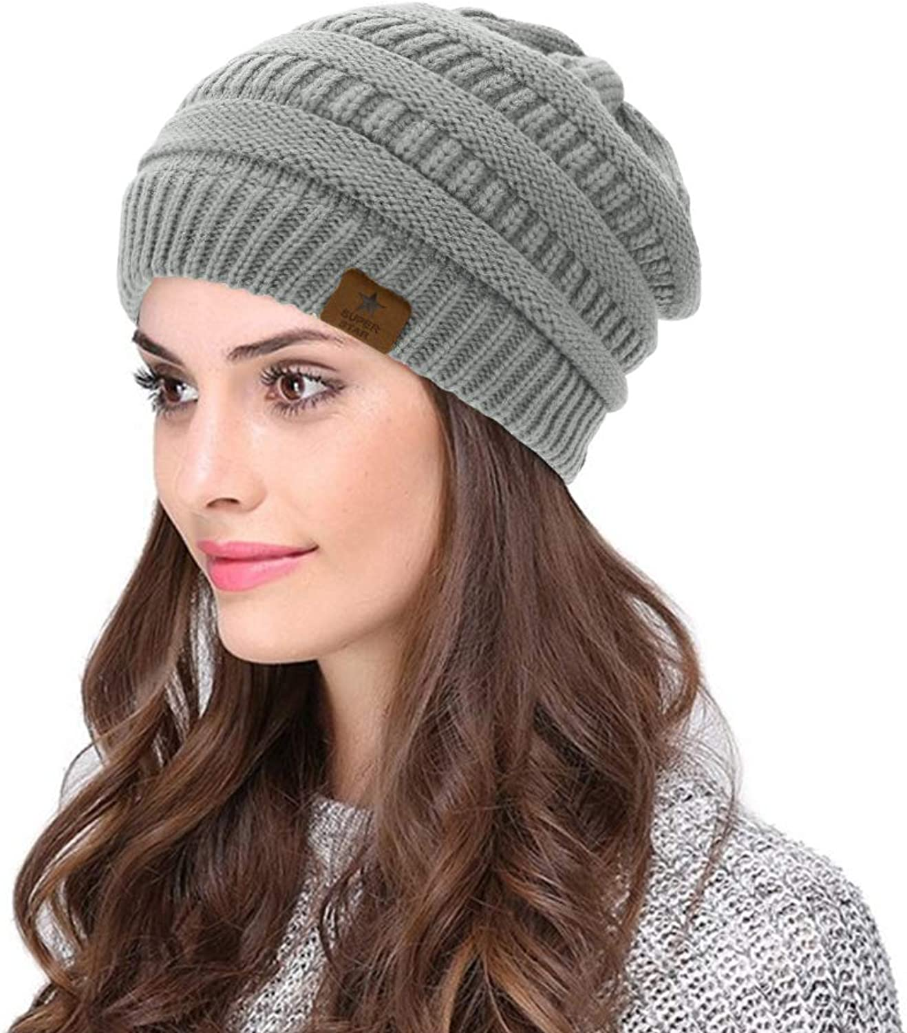 Azue Womens Cable Knit Slouchy Fleece Lined Beanie Winter Warm Thick Hats Skully Caps
