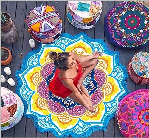 LIUJUAN Yogamatte rutschfest Yogamatte Chakra Strandtuch Quaste Mandala Wandteppich Sonnencreme Runde Vertuschung Badetuch Lotus Bohemian 150Cm-146 Farbe