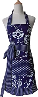Leeotia Cotton Fabric Flirty Women's Apron with Big Pocket in Front Used for Home Baking or Kitchen Cooking (Blue)