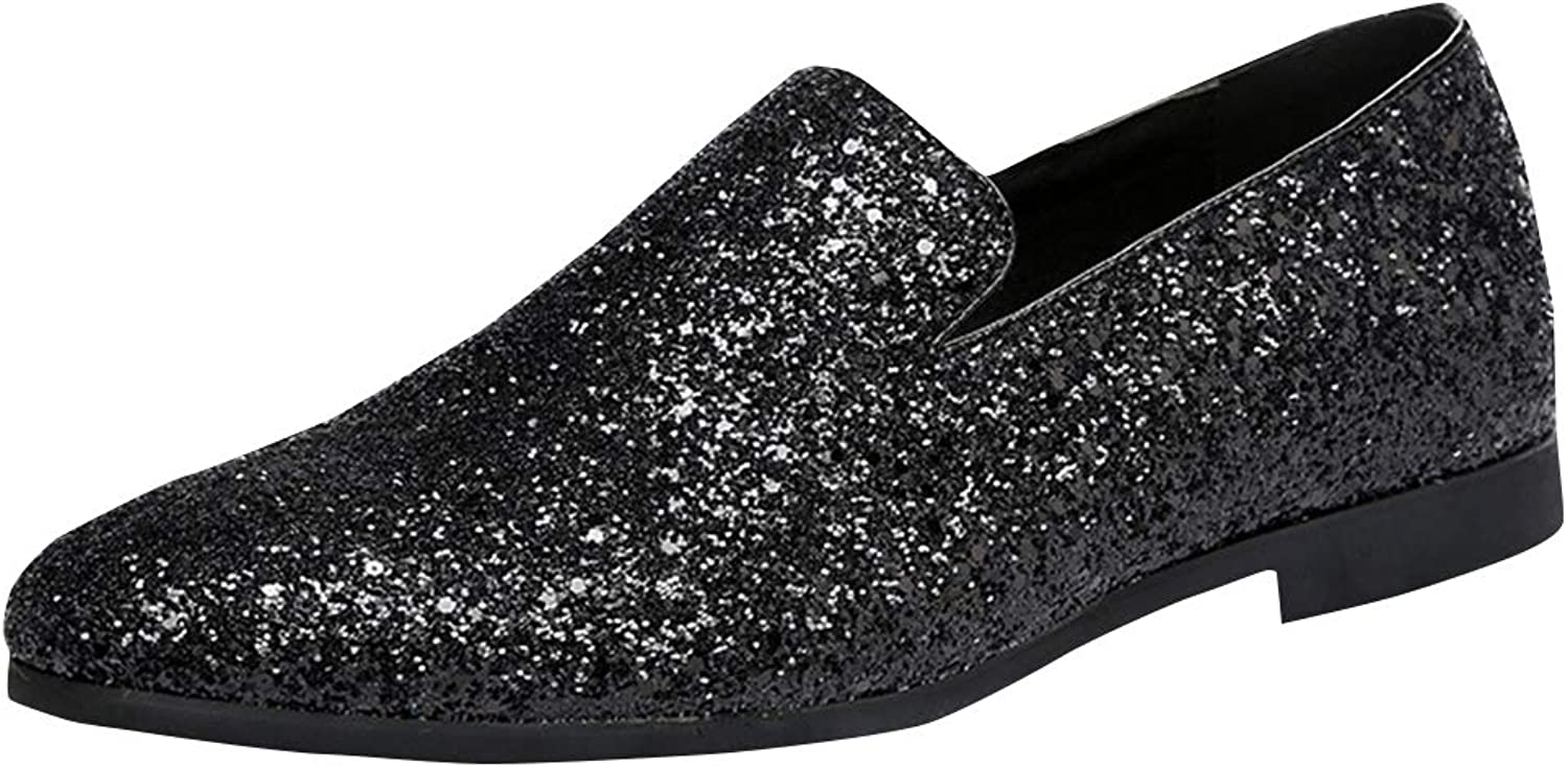 Cloudstyle Men's Metallic Sparkling Glitter Loafers Slip On Classic Tuxedo Dress shoes