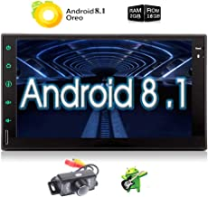 Android 8.1 GPS Navigation Car Stereo Bluetooth Double Din 2G RAM 7 Inch Touch Screen in Dash Radio Handsfree WiFi System Headunit with Free Rear Camera Support Optional OBD2/3G/4G