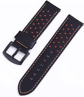 Achket الجلود ووتش الأشرطة 18 ملليمتر 20 ملليمتر 22 ملليمتر 24 ملليمتر جلد طبيعي حزام حزام (Color : 24mm, S : Black orange...