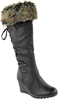 fur wedge boots uk