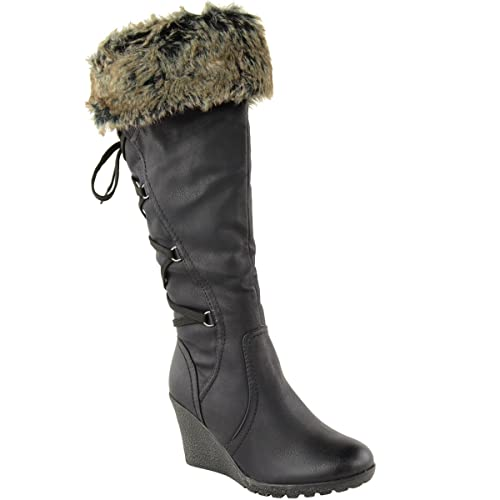 Fashion Thirsty Womens Faux Fur Lined Mid Wedge High Heel Warm Winter Knee Calf High Boots Size