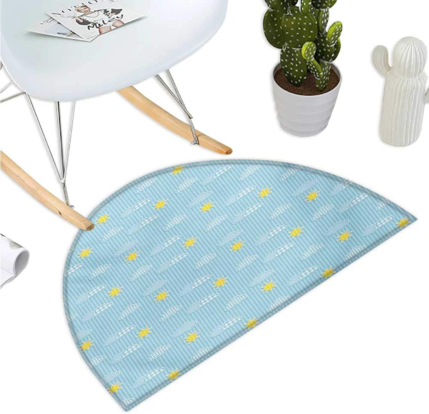 Yellow and bluee Semicircle Doormat Cute Clouds Sun Pattern with greenical Stripes Dots Playroom Design Halfmoon doormats H 43.3  xD 64.9  Pale bluee Yellow