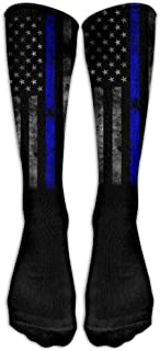 Casual Long Running High Socks Stockings Men's Thin Blue Line Flag Shoe Crew Sport One Size Tube Knee Sock Gifts Stocking Calcetines largos