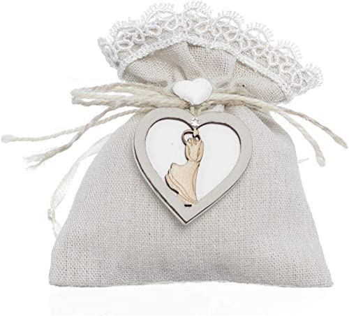 Publilancio srl 36x Geschenktüte 12 x 10 cm Herz Holz Paar Brautpaar Bonboniere