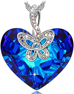 J.NINA ♥Butterfly Love♥ Christmas Day Necklace Gifts Blue Heart Jewelry Gifts Hypoallergenic Romantic Gift for Her with Exquisite Package